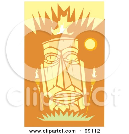 Royalty-Free (RF) Clipart Illustration of a Yellow Tiki Face With Torches On An Orange Background by xunantunich