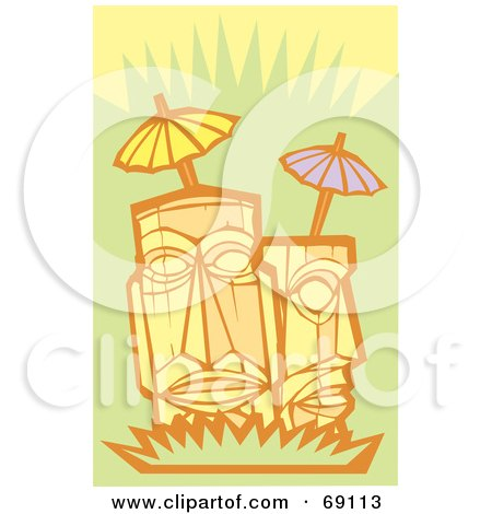 Royalty-Free (RF) Clipart Illustration of Two Tikis With Umbrellas On A Green Background by xunantunich