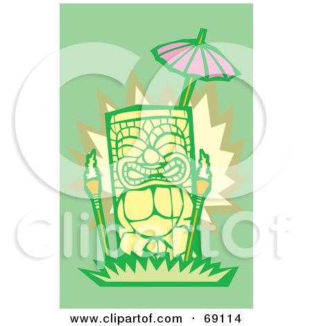 Royalty-Free (RF) Clipart Illustration of a Yellow Tiki With Torches On A Green Background by xunantunich