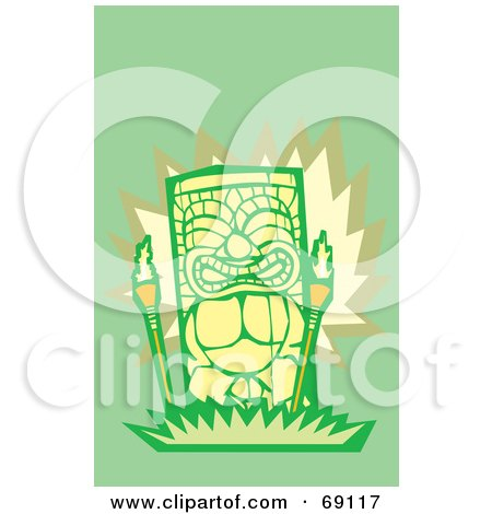 Royalty-Free (RF) Clipart Illustration of a Green And Yellow Happy Tiki With Torches On A Green Background by xunantunich
