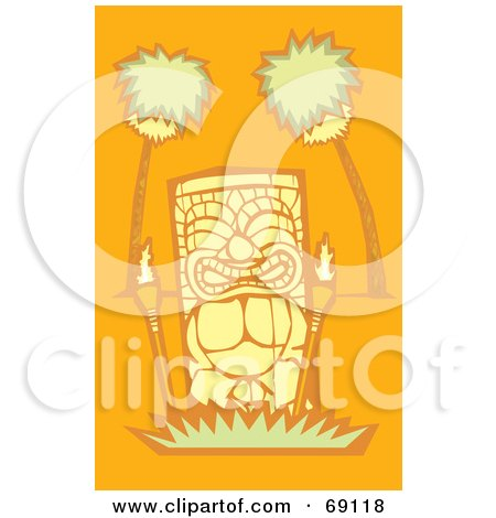 Royalty-Free (RF) Clipart Illustration of a Yellow Tiki With Torches And Palm Trees On An Orange Background by xunantunich