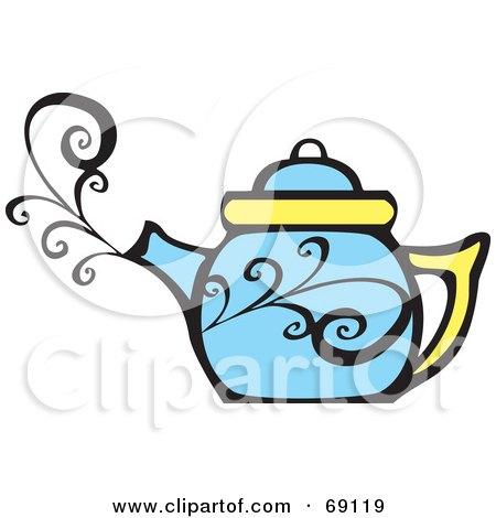 Royalty-Free (RF) Clipart Illustration of a Steamy Blue Tea Pot by xunantunich