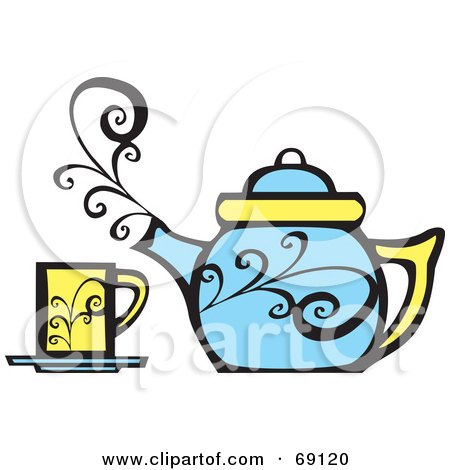 Royalty-Free (RF) Clipart Illustration of a Steamy Blue Tea Pot By A Yellow Cup by xunantunich