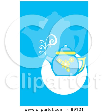 Royalty-Free (RF) Clipart Illustration of a Steaming Blue Tea Pot On A Blue And White Background by xunantunich