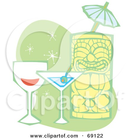 Royalty-Free (RF) Clipart Illustration of a Happy Tiki With Wine, A Martini And Umbrella On A Green And White Background by xunantunich