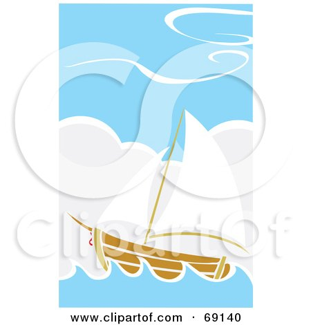 Royalty-Free (RF) Clipart Illustration of a Sailing Ship in the Blue Sea by xunantunich