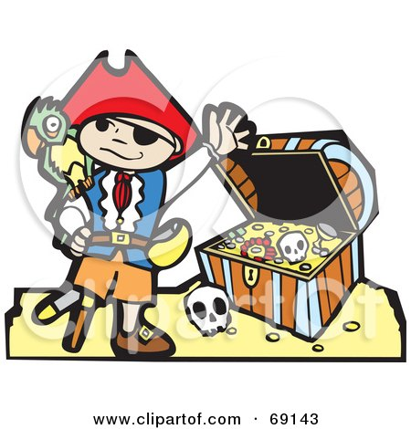 Royalty-Free (RF) Clipart Illustration of a Waving Pirate Boy With A Parrot In Front Of A Treasure Chest by xunantunich