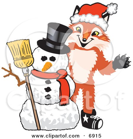 Clipart Picture of a Fox Mascot Cartoon Character With a Snowman on Christmas by Toons4Biz