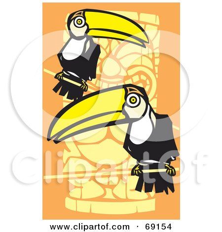 Royalty-Free (RF) Clipart Illustration of Two Perched Toucans Over An Orange Totem Pole Background by xunantunich