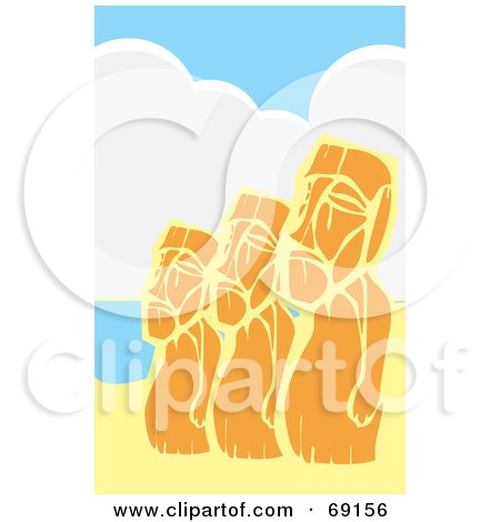 Royalty-Free (RF) Clipart Illustration of a Line of Three Orange Moai Statues by xunantunich