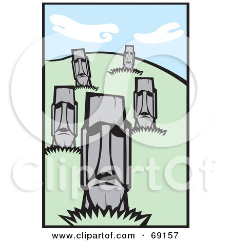 Royalty-Free (RF) Clipart Illustration of a Hillside of Moai Statues by xunantunich