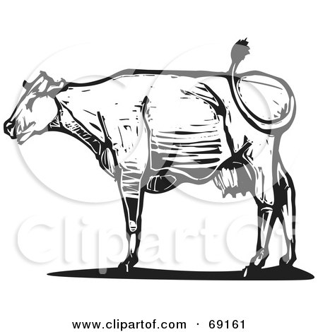 Royalty-Free (RF) Clipart Illustration of a Black And White Wood Textured Carved Cow In Profile by xunantunich
