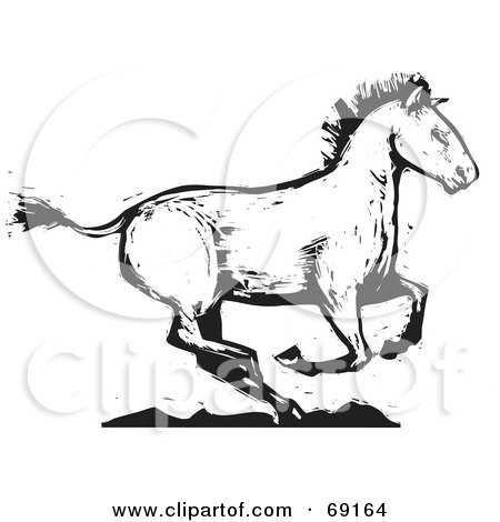 Royalty-Free (RF) Clipart Illustration of a Black And White Wood Carved Texture Horse Running by xunantunich
