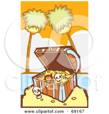 Royalty-Free (RF) Clipart Illustration of a Treasure Chest With Gold And Skulls On A Tropical Beach by xunantunich