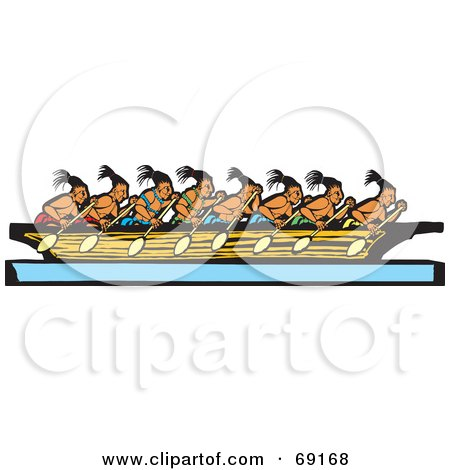 Team Rowing Clipart Team of Mayan Men Rowing a