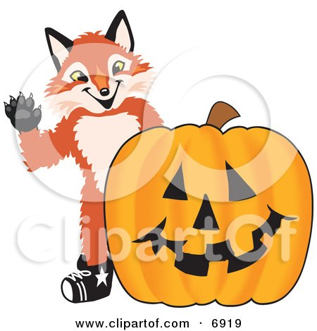 Clipart Picture of a Fox Mascot Cartoon Character With a Halloween Pumpkin by Toons4Biz