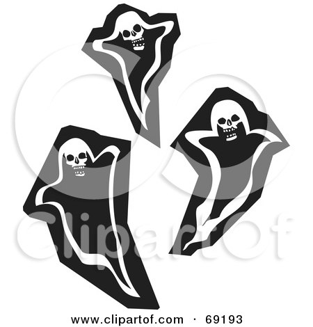 Royalty Free RF Clipart Illustration Of Three Black And White Ghosts With Skull Heads