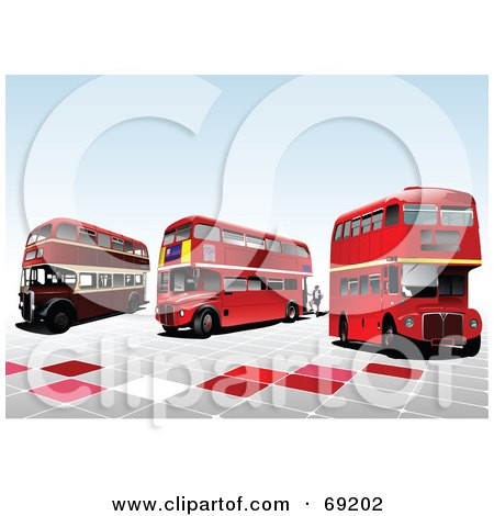 Royalty-Free (RF) Clipart Illustration of Three Old Double Decker London Buses On Tiles by leonid