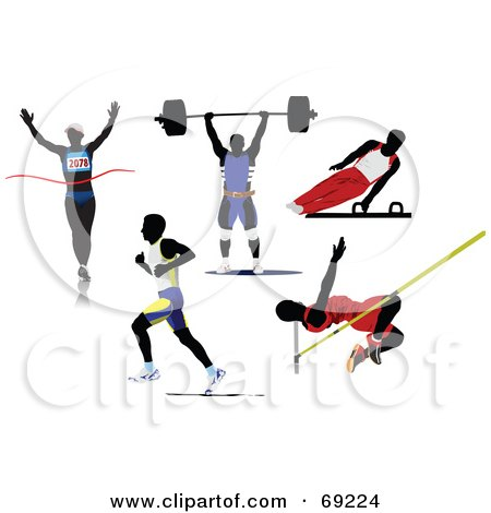 Royalty-Free (RF) Clipart Illustration of a Digital Collage Of Five Silhouetted Athletic Men; Runners, Weight Lifter, Gymnast And Pole Vaulter by leonid