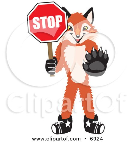 Clipart Picture of a Fox Mascot Cartoon Character Holding a Stop Sign by Toons4Biz
