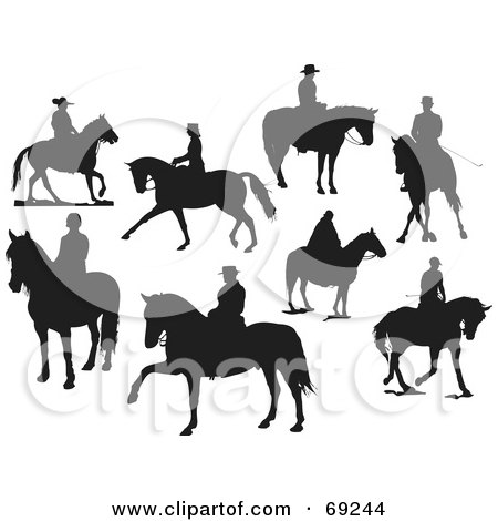 Royalty-Free (RF) Clipart Illustration of a Digital Collage Of Eight Silhouettes Of People On Horses by leonid