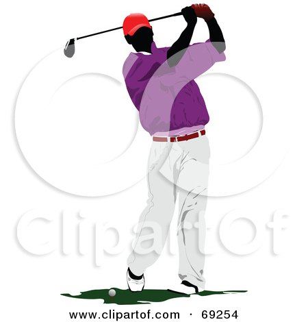 Royalty-Free (RF) Clipart Illustration of a Male Golfer In Purple And White, Swinging by leonid