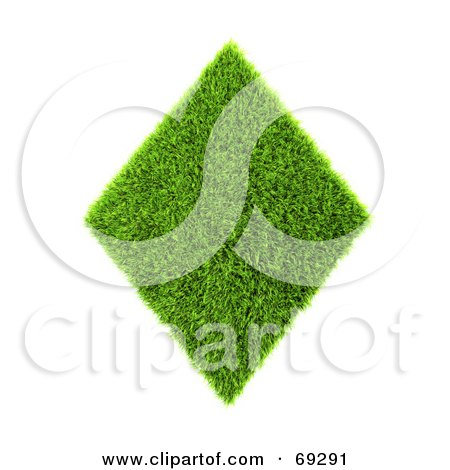 Royalty-Free (RF) Clipart Illustration of a Grassy 3d Green Symbol; Diamond by chrisroll