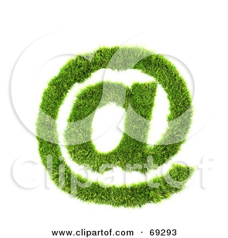 Royalty-Free (RF) Clipart Illustration of a Grassy 3d Green Symbol; Arobase by chrisroll
