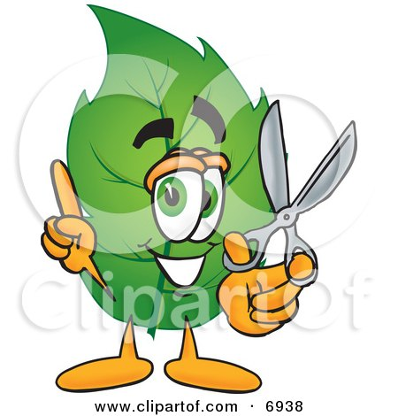 Clipart Picture of a Leaf Mascot Cartoon Character Holding a Pair of Scissors by Toons4Biz
