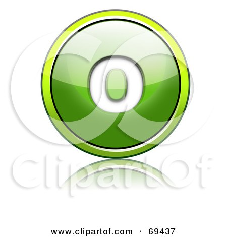Royalty-Free (RF) Clipart Illustration of a Shiny 3d Green Button; Lowercase o by chrisroll