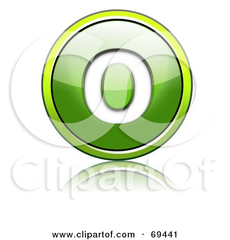 Royalty-Free (RF) Clipart Illustration of a Shiny 3d Green Button; Capital O by chrisroll