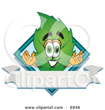Clipart Picture of a Leaf Mascot Cartoon Character With a Diamond and Blank Ribbon Label by Toons4Biz