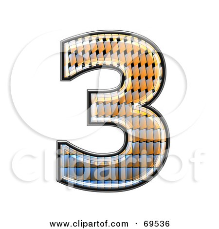 Royalty-Free (RF) Clipart Illustration of a Patterned Symbol; Number 3 by chrisroll