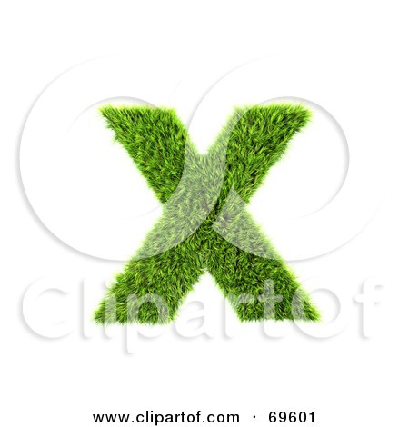 Royalty-Free (RF) Clipart Illustration of a Grassy 3d Green Symbol; Letter X by chrisroll