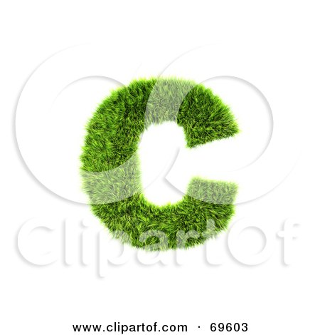 Royalty-Free (RF) Clipart Illustration of a Grassy 3d Green Symbol; Letter C by chrisroll