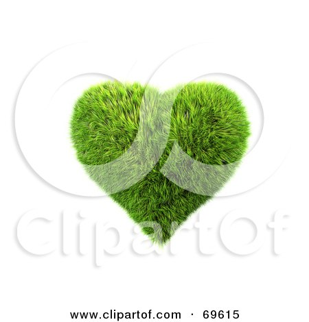 Royalty-Free (RF) Clipart Illustration of a Grassy 3d Green Symbol; Heart by chrisroll