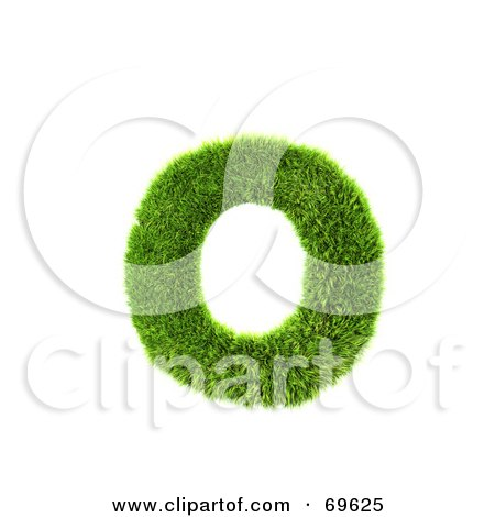 Royalty-Free (RF) Clipart Illustration of a Grassy 3d Green Symbol; Letter O by chrisroll
