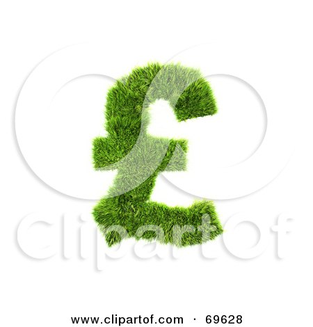 Royalty-Free (RF) Clipart Illustration of a Grassy 3d Green Symbol; Pound by chrisroll