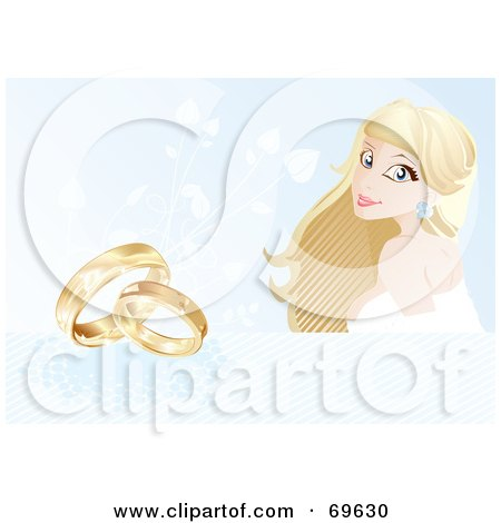 Royalty-Free (RF) Clipart Illustration of a Beautiful Blond Bride On A Blue Background With Wedding Rings by MilsiArt