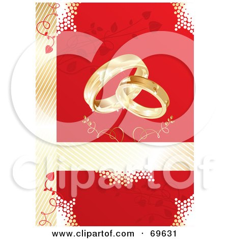 Royalty-Free (RF) Clipart Illustration of a Red And Gold Wedding Background With Gold Rings And Vines by MilsiArt