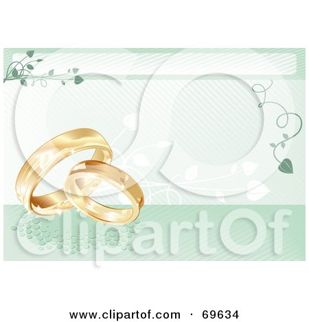 Royalty-Free (RF) Clipart Illustration of a Green Wedding Background With Golden Rings And Vines by MilsiArt