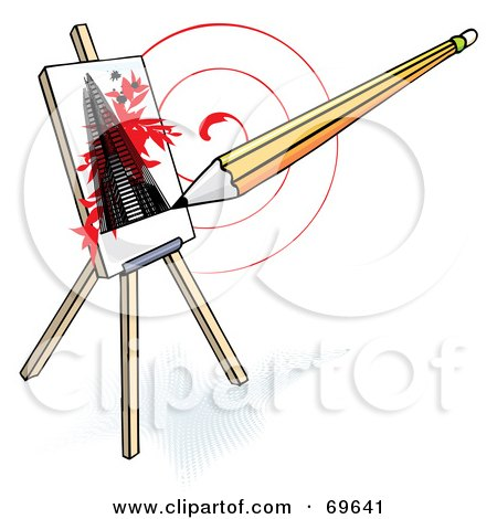 Royalty-Free (RF) Clipart Illustration of a Pencil Drawing A Skyscraper On An Easel, Over A Red Swirl by MilsiArt