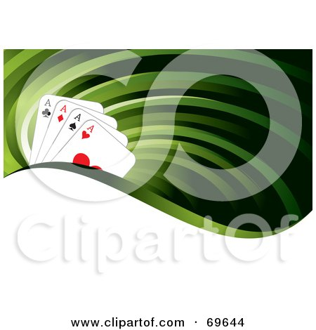 Royalty-Free (RF) Clipart Illustration of a Green Flow Background With Four Ace Playing Cards And A White Wave by MilsiArt