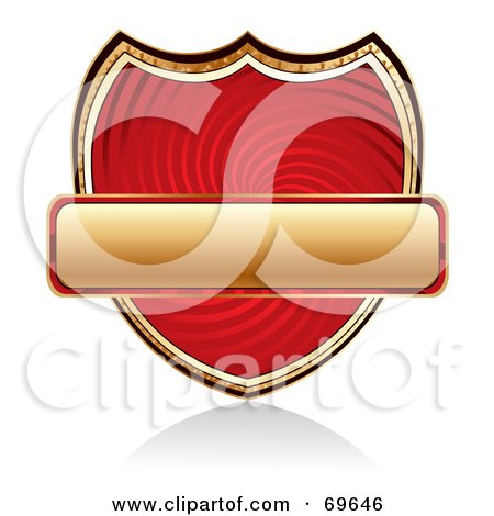 Royalty-Free (RF) Clipart Illustration of a Blank Golden Banner Over A Red Swirl Shield by MilsiArt
