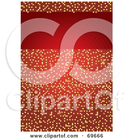 Royalty-Free (RF) Clipart Illustration of a Sparkling Red And Gold Mosaic Background With A Text Box by MilsiArt