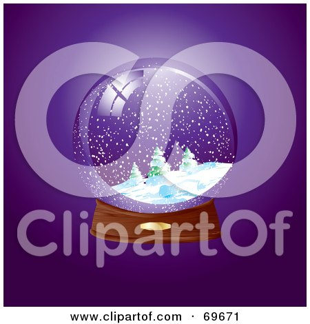 Royalty-Free (RF) Clipart Illustration of a Snow Globe On A Wooden Base Over Purple by MilsiArt