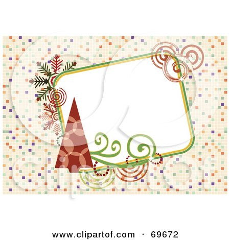 Royalty-Free (RF) Clipart Illustration of a Retro Background With Christmas Trees And Text Space by MilsiArt