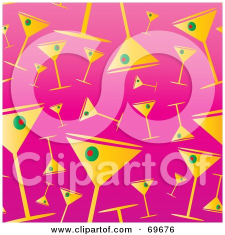 Royalty-Free (RF) Clipart Illustration of a Background Of Martini Glasses On Pink by MilsiArt