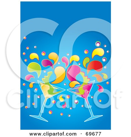 Royalty-Free (RF) Clipart Illustration of Two Colorful Martinis Splashing Over Blue by MilsiArt