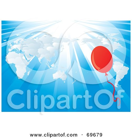 Royalty-Free (RF) Clipart Illustration of a Red Balloon Over A White Atlas On A Shining Blue Background by MilsiArt